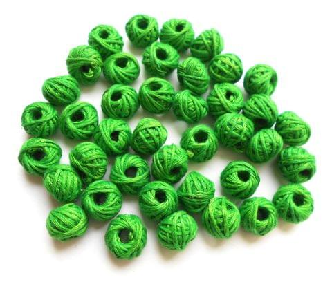 75 Green cotton thread beads