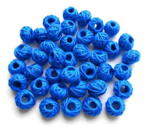75 pieces of blue cotton thread beads