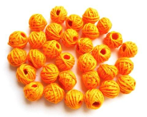 75 pieces of dark yellow cotton thread beads