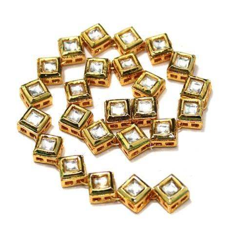 25 Pcs Kundan Kadi Square Shape Golden 8x8mm