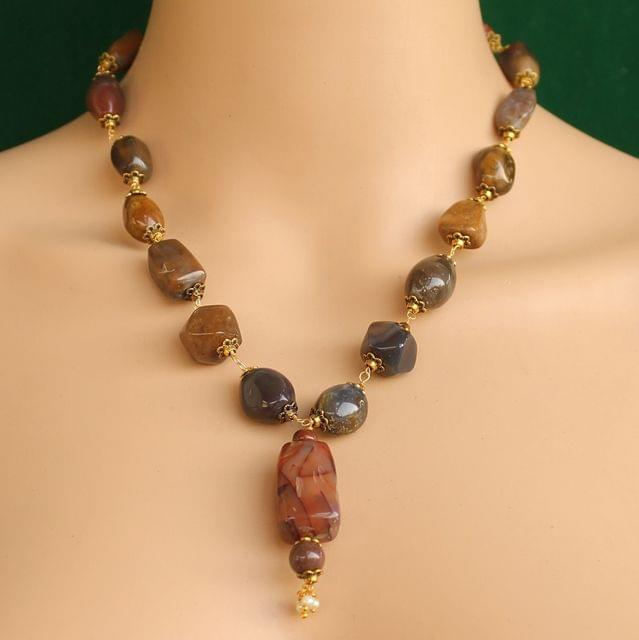Red Jasper, Mahogany and Unakite assorted beads Gemstone Necklace