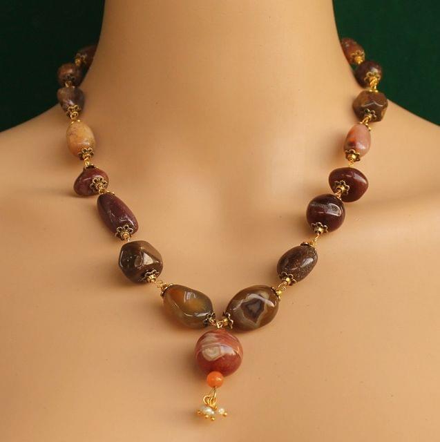 Mahogany Obsidian Gemstone Beaded Necklace
