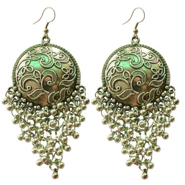 Foppish Mart  Antique Silver Coin Inspired Boho Dangler Earrings For Women