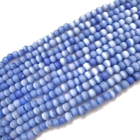4 Strings, 4mm Blue Cat's Eye Bead Strings, 13 Inch (75+ Beads in each string)