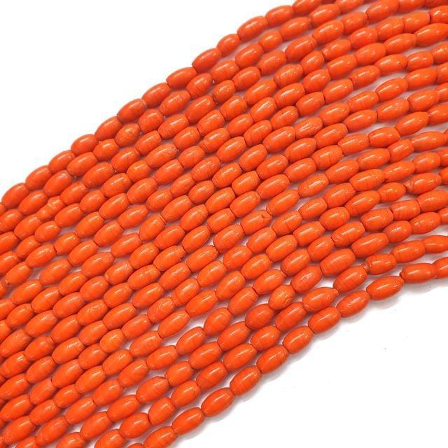 4 Strings, 8x4mm Orange Drum Barrel Bead Strings, 13 Inch (40+ Beads in each string)