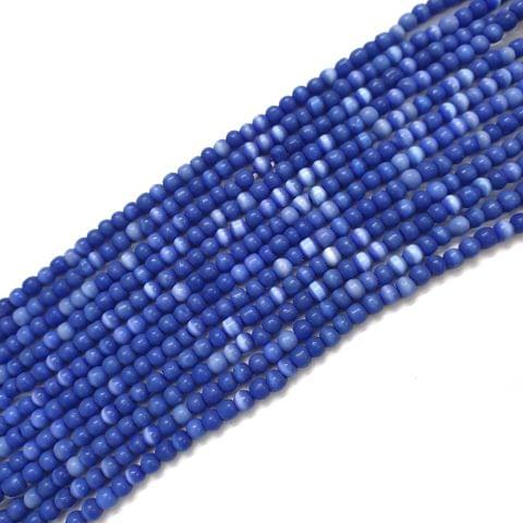 4 Strings, 3mm Blue Cat's Eye Bead Strings, 14 Inch (90+ Beads in each string)
