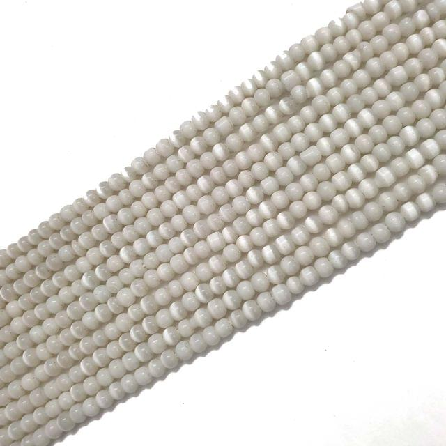 4 Strings, 3mm White Cat's Eye Bead Strings, 14 Inch (90+ Beads in each string)