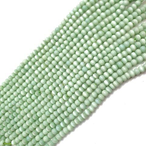 4 Strings, 3mm Light Green Cat's Eye Bead Strings, 14 Inch (90+ Beads in each string)