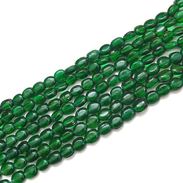 4 Strings, 6x3mm Green Oval Shape Glass Bead Strings, 14 Inch (70+ Beads in each string)
