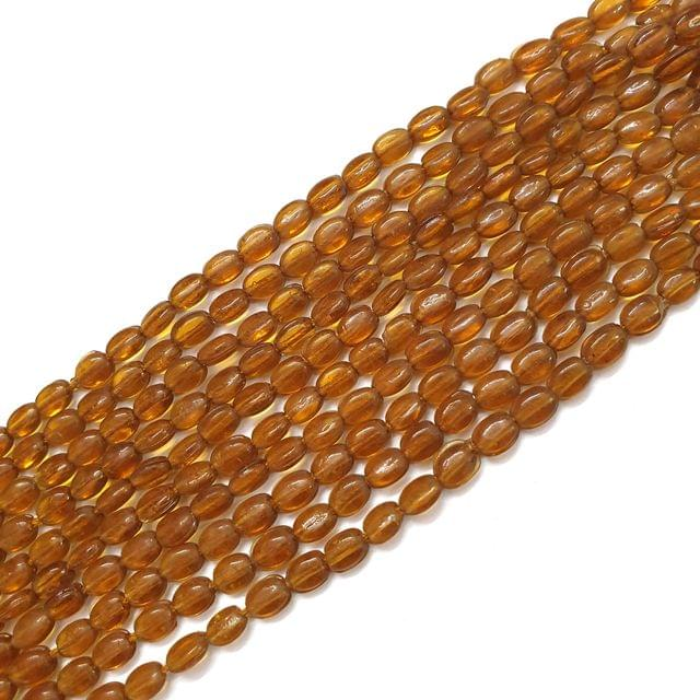 4 Strings, 6x3mm Golden Oval Shape Glass Bead Strings, 14 Inch (70+ Beads in each string)
