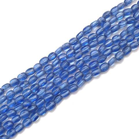 4 Strings, 6x3mm Blue Oval Shape Glass Bead Strings, 14 Inch (70+ Beads in each string)