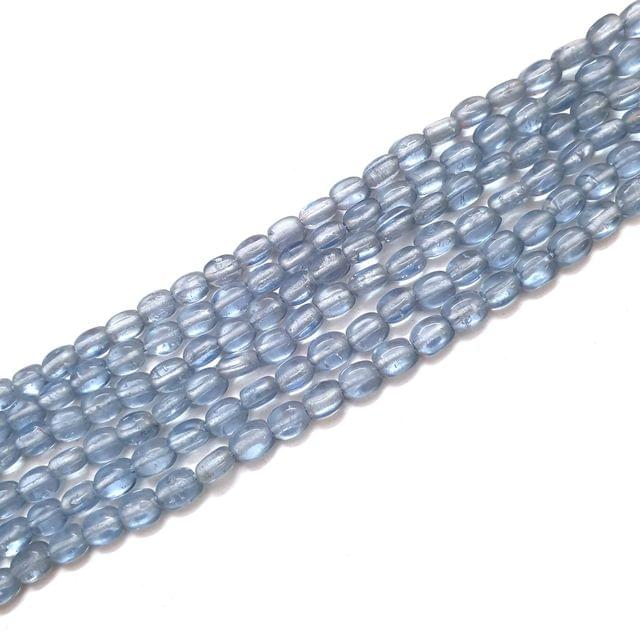 4 Strings, 6x3mm Light Blue Oval Shape Glass Bead Strings, 14 Inch (70+ Beads in each string)