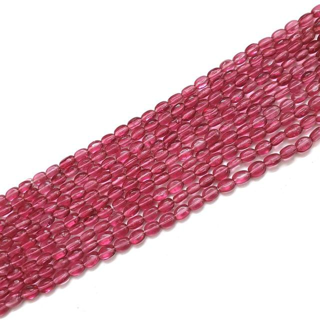 4 Strings, 6x3mm Dark Pink Oval Shape Glass Bead Strings, 14 Inch (70+ Beads in each string)