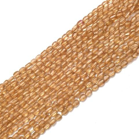 4 Strings, 6x3mm Light Golden Oval Shape Glass Bead Strings, 14 Inch (70+ Beads in each string)