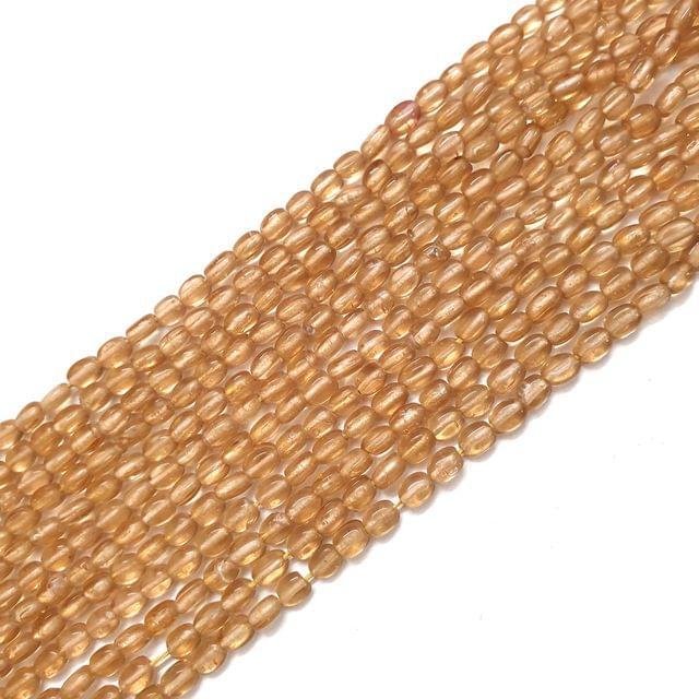 4 Strings, 6x3mm Light Golden Oval Shape Glass Bead Strings, 14 Inch (70+ Beads in each string)