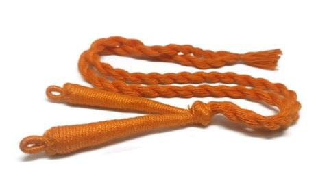 Aumni Crafts Handmade Jewellery Making Cotton Dori Back Rope Braided 1cm 18inch (Pack of 5 Pieces) [Color 10-> Orange]