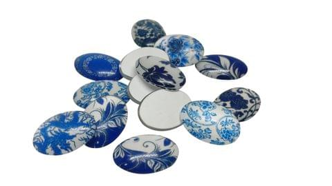 Glass Patches Embellishments Cabochons Random Design Print 18x13x4mm Oval Assorted Blue Shades (Pack of 20 pieces)