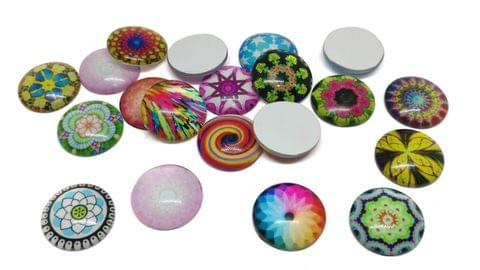 Glass Patches Embellishments Cabochons Random Design Print 18x5mm Round Assorted Colors (Pack of 20 pieces)