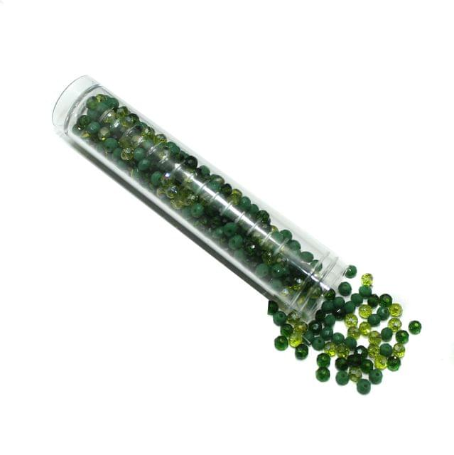 Glass Crystal Beads Tube Trans and Opaque Green Tone 4mm For Jewellery Making