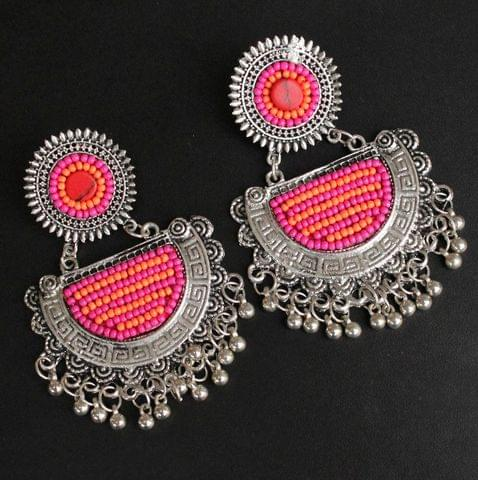Pink German Silver Afghani Earrings