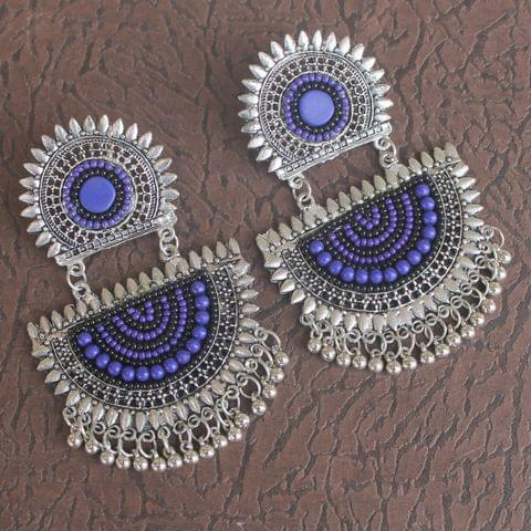 Purple German Silver Afghani Earrings