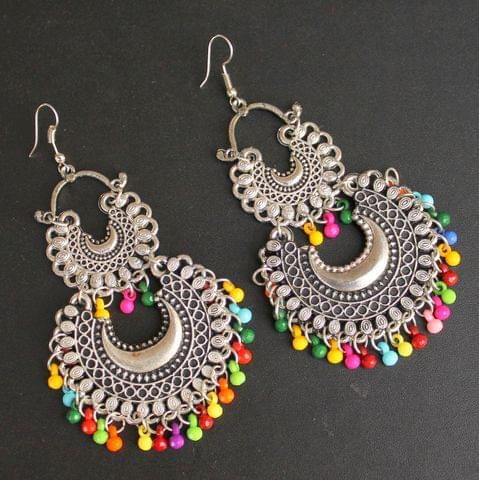 Multicolor German Silver Afghani Earrings