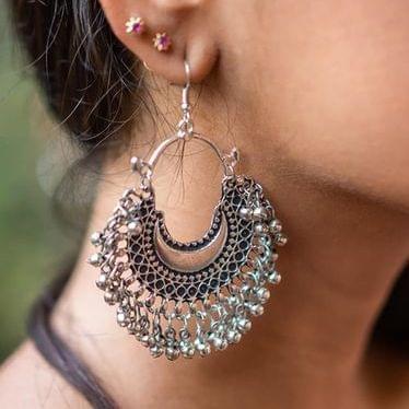 German Silver Afghani Chandbali Earrings
