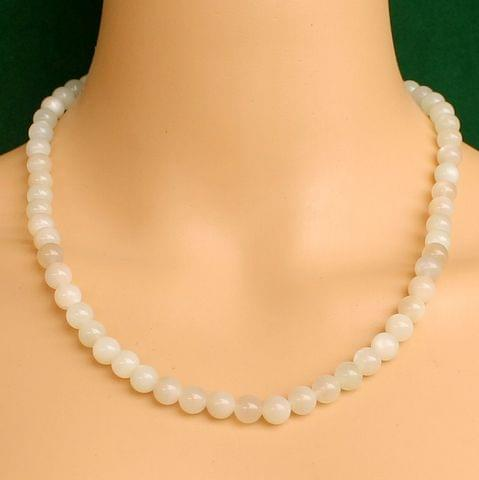 White Cats Eye Gemstone Necklace