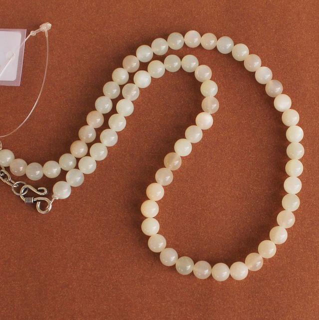 White Cats Eye Gemstone Necklace