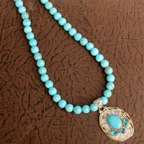 Turquoise Gemstone Necklace with Dual Tone Pendant to decrease nervousness, tension, and stress