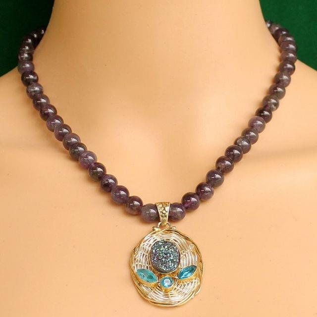 Amethyst Gemstone Necklace for High wisdom with Pendant
