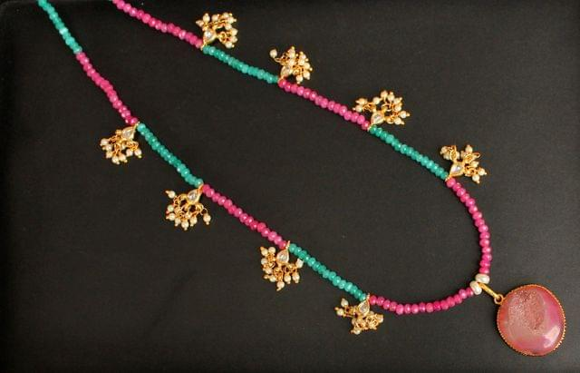 Faceted SeaGreen and Pink Onyx Long Necklace with Kundan Beads