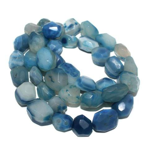 Tumbled Faceted Blue Onyx Stone Beads 28-19 mm