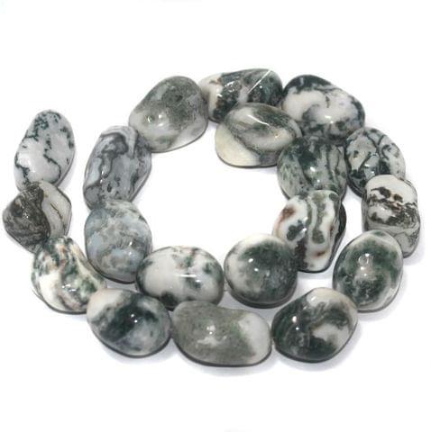 Tumbled Tree Agate Stone Beads 24-18 mm