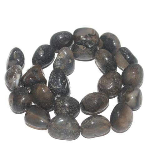 Tumbled Black Onyx Stone Beads 17-13 mm