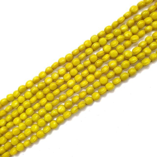 Opaque Oval Yellow Glass Bead Strings