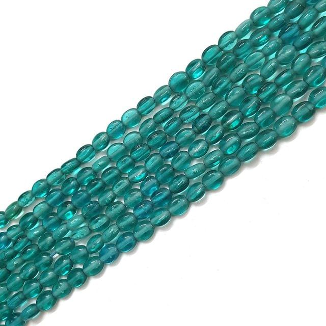 Sea Green Oval Glass Bead Strings