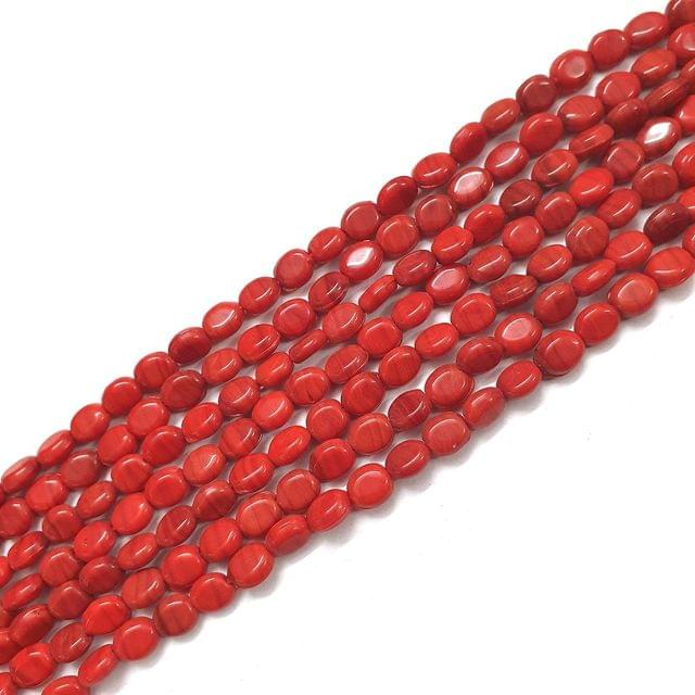 Opaque Red Oval Glass Bead Strings