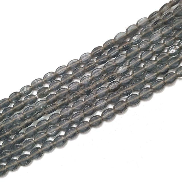 Grey Oval Glass Bead Strings