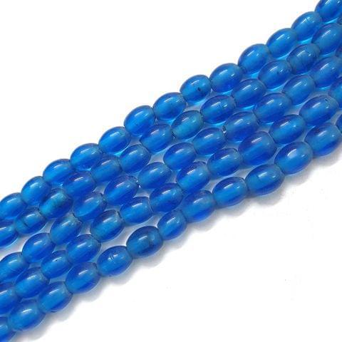 Blue Oval Glass Bead Strings