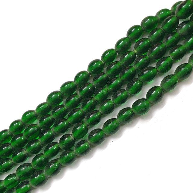 Green Oval Glass Bead Strings