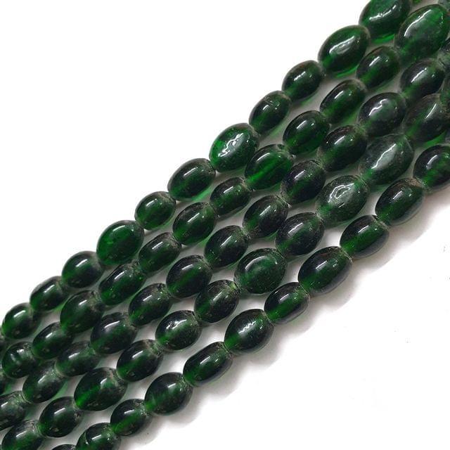 Dark Green Oval Glass Bead Strings