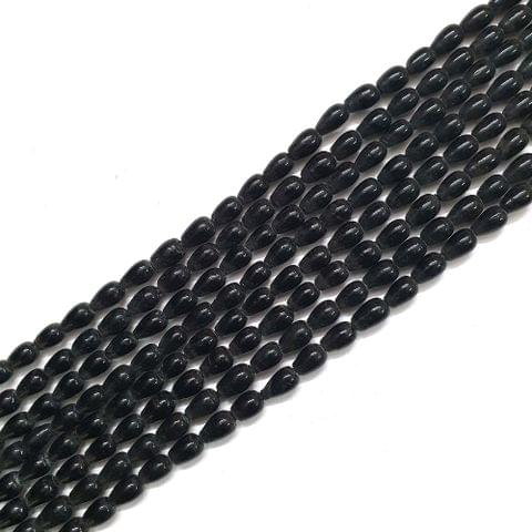 Opaque Black Drop Glass Bead Strings