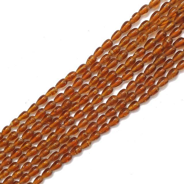 Opaque Golden Drop Glass Bead Strings