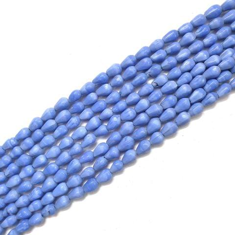 Opaque Blue Drop Glass Bead Strings