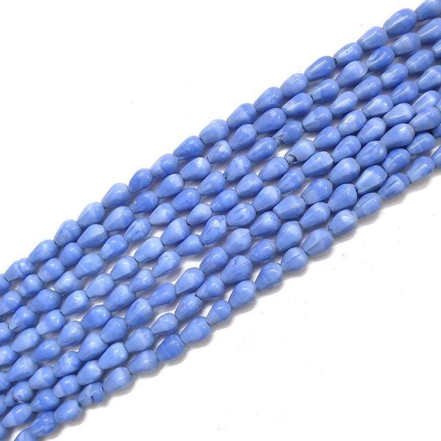 Opaque Blue Drop Glass Bead Strings