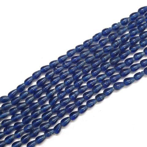 Opaque Dark Blue Drop Glass Bead Strings