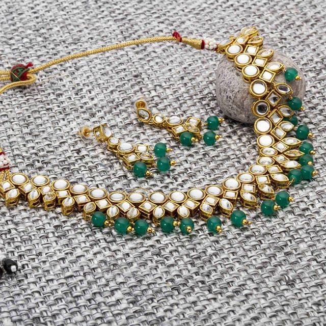 Designer Kundan Studded Gold Plated Necklace Set for Women/Girls Green