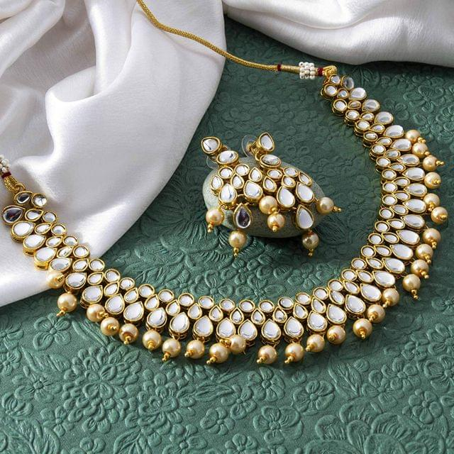 Traditional Beads & Kundan Studded Gold Plated Necklace Set for Women/Girls Golden