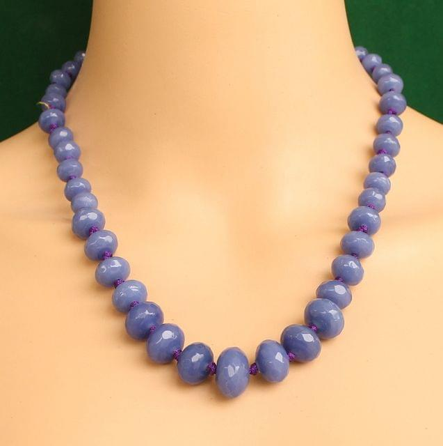 Graduated Blue Rondelle Faceted Crystal Glass Necklace
